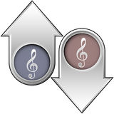 Treble clef icon on up and down arrows. Up and down arrows with treble clef music icons indicating popularity, price, skill, or volume Stock Photo