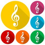 Treble clef  icons set with long shadow. Icon Stock Images