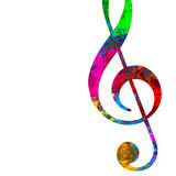 Treble clef. An illustration of a colorful treble clef on a white background Royalty Free Stock Photo