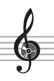 Treble clef. Illustration of treble clef with vinyl disc Royalty Free Stock Image