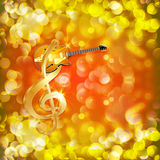 Treble clef with jazz guitar on a bright background Stock Images