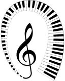 Treble clef with keyboard Royalty Free Stock Photo