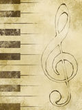 Treble clef. And keys on the old paper Stock Photos
