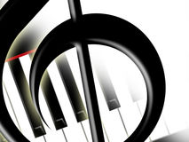 Treble clef and keys of the piano Stock Photos