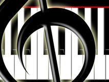 Treble clef and keys of the piano. Fragment of a treble clef on a background of keys of the piano Royalty Free Stock Photos