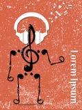 Treble clef mężczyzna w hełmofonach wektor ilustracja wektor