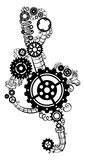 Treble clef made of gears. Stock Photography