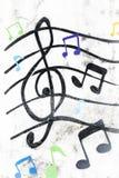 Treble clef malujący na białej ścianie Obrazy Royalty Free