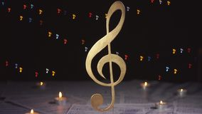 Treble clef. Music note symbol. Musical background