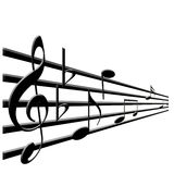 Treble clef and music notes Royalty Free Stock Image