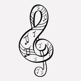Treble clef. With music notes Royalty Free Stock Image