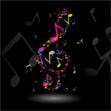 TREBLE CLEF MUSIC NOTES ILLUSTRATION. Colorful TREBLE CLEF composed with many small MUSIC NOTES Stock Images