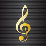Treble clef on music staff background. Golden musical symbol on black background. Graphic design element for choir flayer, concert invitation, poster Stock Photos