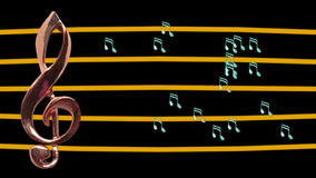 Treble clef and musical notes moving. High-tempo - Music - Staff - Full HD stock video