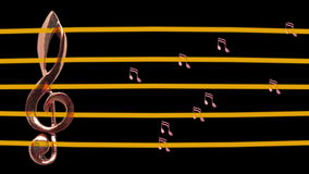 Treble clef and musical notes. Moving left and right - Tempo - Music - Staff - Full HD stock footage