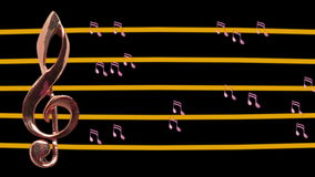 Treble clef and musical notes. Moving - Low-tempo - Music - Staff - Full HD stock video