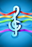 Treble clef musical symbol with ribbon Stock Photography