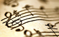 Treble clef, muzyczny pojęcie Obrazy Royalty Free