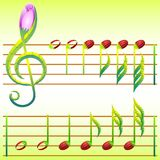 Treble clef and note made of stylized flowers and  Stock Image