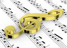 Treble Clef and note on Pentagram - 3D Royalty Free Stock Photo