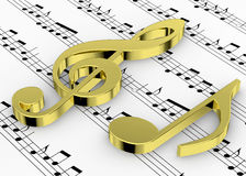 Treble Clef and note on Pentagram - 3D Royalty Free Stock Image