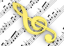 Treble Clef and note on Pentagram - 3D Stock Images