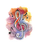Treble clef. And notes on color background Royalty Free Stock Photo