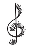 Treble clef and notes. Monochrome illustration of treble clef and notes Stock Image