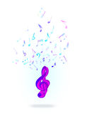 Treble clef and notes Royalty Free Stock Image