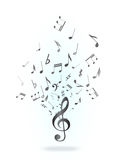 Treble clef and notes Royalty Free Stock Photo
