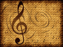 Treble clef on the old background Royalty Free Stock Image