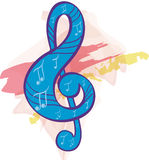 Treble clef. In painting style Royalty Free Stock Photos