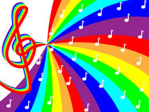 Treble clef on rainbow stave. Colored background Royalty Free Stock Images