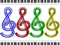 Treble clef - red, blue, green and yellow Royalty Free Stock Image