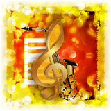 Treble clef with saxophone and piano bright background Royalty Free Stock Photography