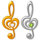 Treble clef in the shape of heart. Vector treble clef in the shape of heart Stock Image