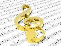 Treble clef on sheet of printed music Royalty Free Stock Image