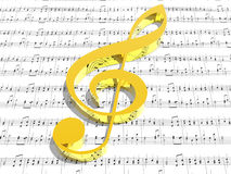 Treble clef on sheet of printed music. (see more in my portfolio Royalty Free Stock Photos