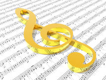 Treble clef on sheet of printed music.  Royalty Free Stock Photo