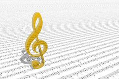 Treble clef on sheet of printed music Stock Photography