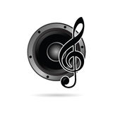 Treble clef with speaker icon vector Stock Image