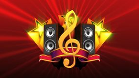 Treble clef with stars and speakers stock video