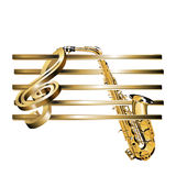 Treble clef stave 3D gold and saxophone Stock Photo