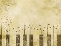 Treble clef. And stave on the old paper Stock Photo