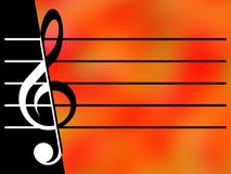 Treble clef and stave. On the black and bright color backgrounds Stock Photography