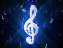 Treble clef, surrounded by musical symbols Royalty Free Stock Photo