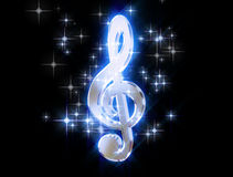 Treble clef, surrounded by stars Royalty Free Stock Photo