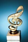 Treble clef symbol trophy Royalty Free Stock Photos