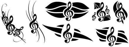 Treble clef tattoo set isolated Royalty Free Stock Photography