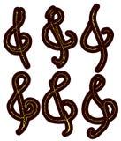 Treble clef tatuaż ustawiający odizolowywającym Obraz Royalty Free